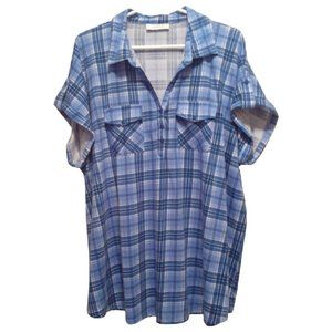 My Style Plus-Size Blue Plaid Pullover Tunic Top